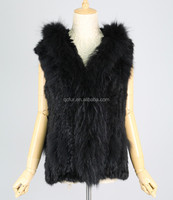 QC2127-3 black girls knitted rabbit fur hood vest/gilet with raccoon dog fur collar trimming