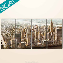 Fashion wall art decor modern building canvas panting cityscape scenery oil painting