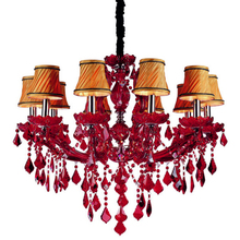Modern fancy red plastic crystal chandeliers