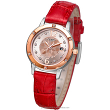SINOBI 2015 Hot red ladies leather or stainless steel wirst watches