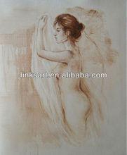 Stock handmade nude woman body oil painting