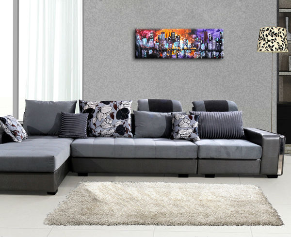 mur de toile art color ville peinture l 39 huile pour le. Black Bedroom Furniture Sets. Home Design Ideas