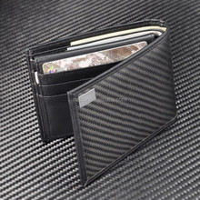 In Stock Small Quantity Sell Black Real Carbon Fiber Money Clip Wallet Genuine Leather