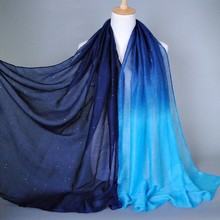 Scarf ombre glitter shawls 100% Viscose Scarves shade color Pashmina scarf