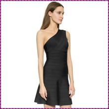 fashion sexy women bandage party mix one shoulder plus size maxi dress