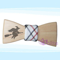 DIY fabric carving Halloween wooden bow tie ,delivery fast