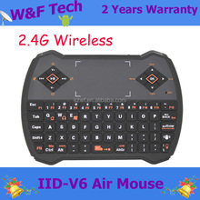 55mA(on), 1mA(sleep) wireless keyboard V6 with MIC air mouse remote control