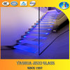 color toughened glass stair with led lights
