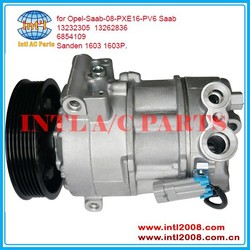 Sanden PXE16 SD1603P Car / auto ac compressor for Opel Saab 08 13232305 13262836 6854109 Sanden 1603