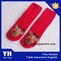 Promotional wholesale plush ladies ankle high christmas socks
