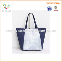 2015 ZHENXIN color blocking and sliver stamping paper straw beach bag hot sales gift bag