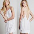 Golfinho hem ladies voltar nudez de design vestido de alça branco fancy dress moda