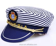 customize OEM embroidery cotton flat top captain cap navy cap sailor cap