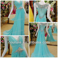 Top quality a-line v-neck cap sleeves crystals floor length light blue real sample newest sexy elegant evening dress 2013 ed102