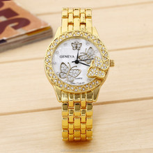 Women rhinestone watches butterfly marks ladies branded watch golden women rose gold dial quartz watch reloj mujer