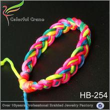 tres colores de joyería étnica tribal del arco iris de cuerdas de nylon trenzado pulsera