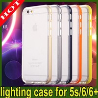 TOP Quality Metal colors + TPU flash light cover case for iphone 5/5s 6 6 plus