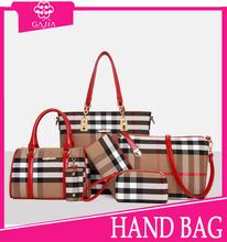 Top! 2015 winter fashion plaid 6pcs set bag 100% genuine leather handbags deisgner lady high quality women handbag for Christmas