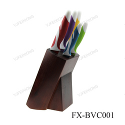 BVC001A COLOR coating Kitchen knives Set knives With Block