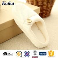 Romantic beige cashmere adult plush indoor slipper with sponge heels