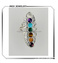 Beautiful Sterling Silver Chakra Rainbow Moonstone Ring