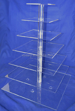 shenzhen supplier 7 tiers acrylic cup cakes stand transparent plactis wedding cake shelves collapsible