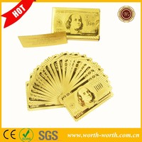 Wholesale 24K Gold Plated US $100 24k pure gold playing card, 24k Gold Poker For Party Playing With Certificate Authenticity