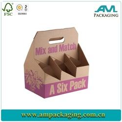 Custom 6 Pack Cardboard Wine Bottle Carrier Box