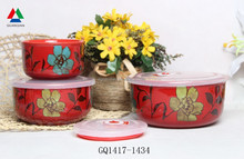 Popular red color fresh bowl three sizes ceramic bowl with plastic lid