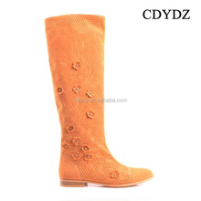 CDYDZ M1415-W5591 fashion Frosted flowers hollow flat stylish knee high long flat boots Women