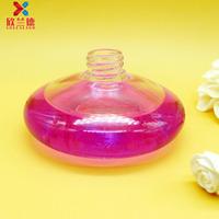 facrory price 50ml flat round glass car aroma diffuser bottle car air freshener bottle