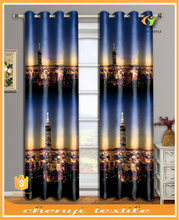 New printed modern city night design curtain with 3D digital printing for UK market