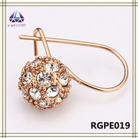 Real Rose Gold Ball With Clear Crystal Earring Wholesale