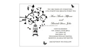 Customized 5*7inch clear acrylic wedding invitation card with bird cage element