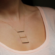 Punk Style Simple Gold Silver Horizontal Bar 3 Sticks Pendant Thin Chain Necklace Jewelry