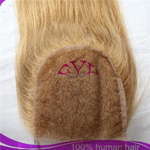 Best selling products blonde colour 3.5*4 peruvian human hair lace closure
