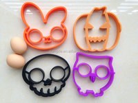 Fred and Friends Holiday Collection Silicone Egg Molds,Rabbit,Pumpkin,Skull,Owl Silicone Egg Ring Set,Breakfast Rubber Ring Egg