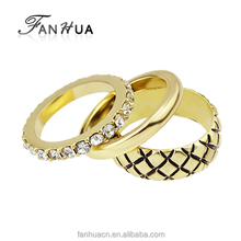 New Trendy Gold Plated Three Fingers Women Rings Set