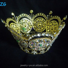 Round Gold Plated Crystal Ring Crown Shaped Royal King and Queen Pageant Crowns