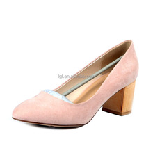lady PU Leather fashion MID high heels Pointed corset work pumps court shoes