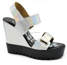 Fashion ladies wedge sandal Rainbow colored summer dress shoes