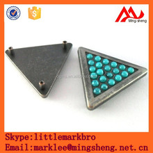 triangle custom alloy label, glitter in mold label, two hole metal label