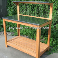 Outdoor Wooden Flower Pot Table / Garden Patio Potting Bench / Plant Table