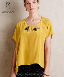 M40594 2016 Latest fashion blouse plus size 100% chiffon breathable loose casual women t shirt blouse tops wholesale