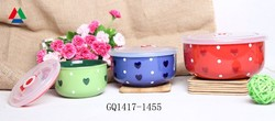 liling factory color glazed ceramic bowl with hearts and dots design