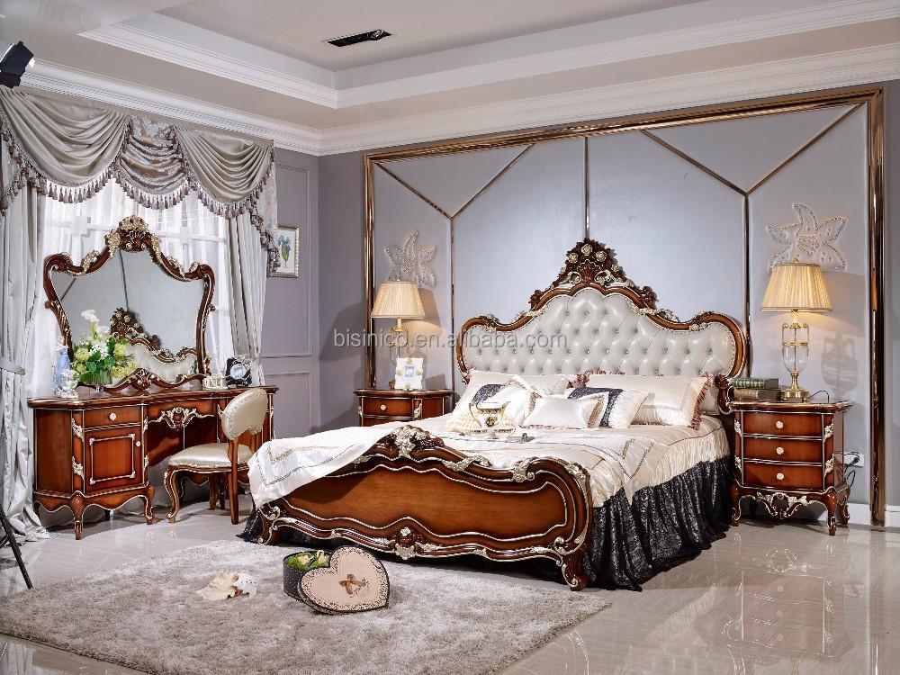 Italienne meubles de chambre coucher en bois ensemble for Chambre a coucher royale