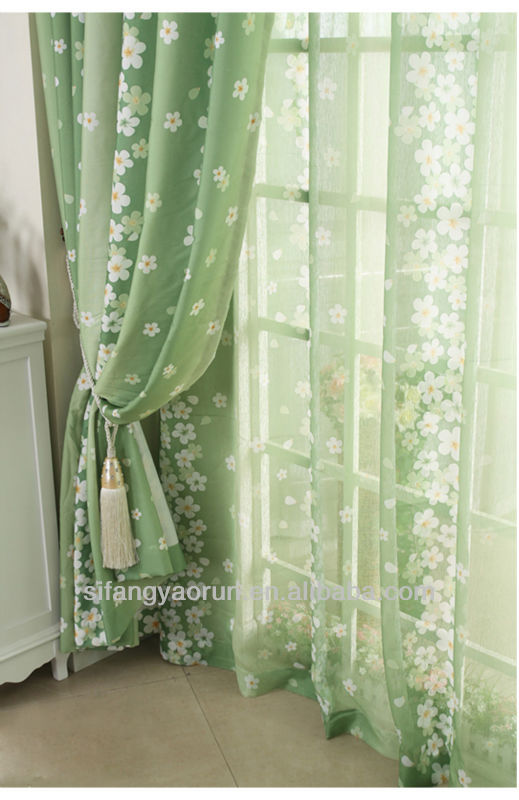 charming pastoral green curtains living room bedroom
