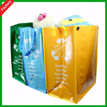 wholesale popular cheaper environmental pp woven green printing garbage tote bag with packing