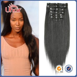 Peruvian double weft 30 inch hair extensions clip in one piece clip in human hair extensions