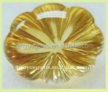 hot sale yellow synthetic gemstone , flower cut cubic zirconia ,semi-precious stone akik stone